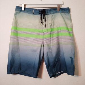 Hurley Blue & Green Swim Board Shorts 34